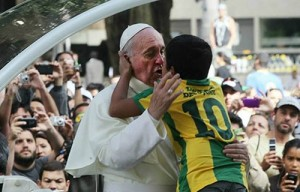 Pope cries with child who wants to be a priest
