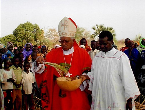 Bishop Macram Gassis, mccj celebrates Palm Sunday Mass in the Nuba Mountains of Sudan.